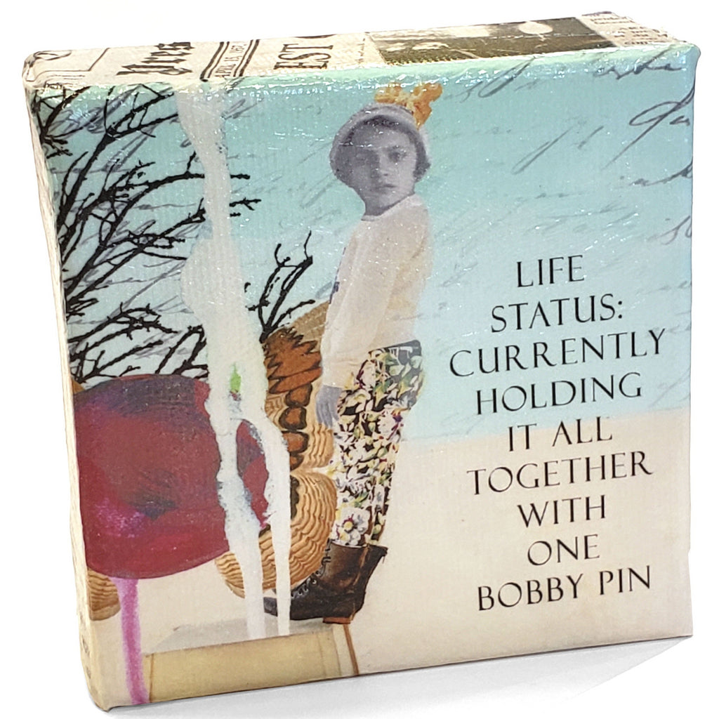 erin smith art life status bobby pin mini canvas