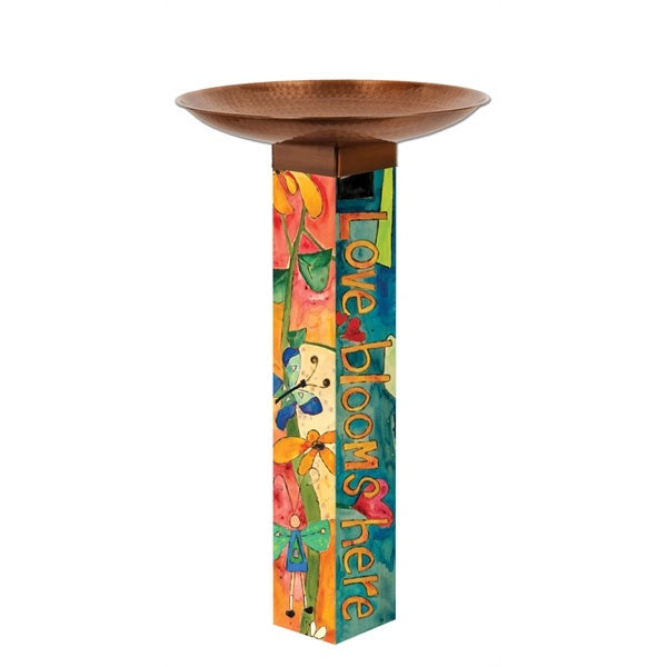 Art Pole Bird Bath-Love Garden