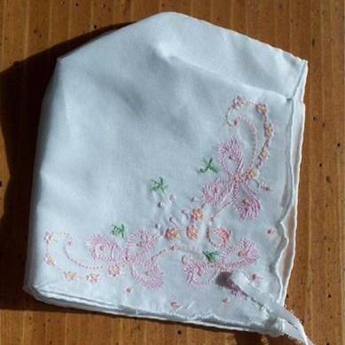 Pink Embroidered Baby Bonnet