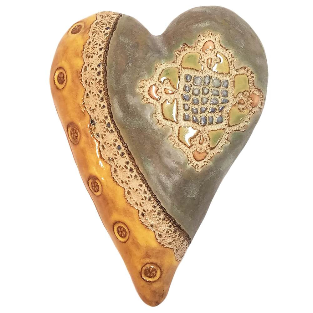 Ceramic Heart-Sally in Desert Yellow