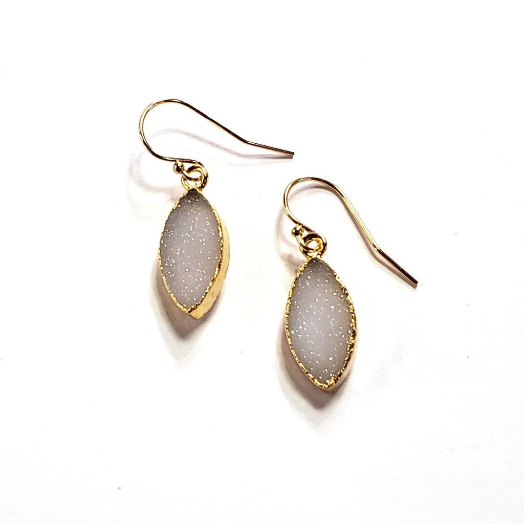 Marquis Druzy Earrings-White