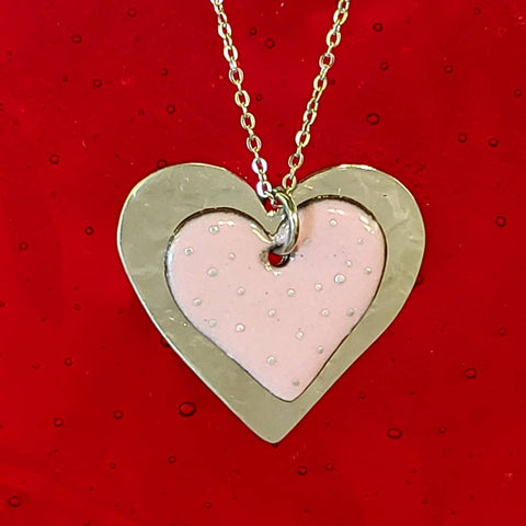 Enamel Heart Necklace-Pink