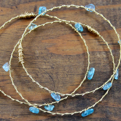 Recycled Guitar String Bracelet-Apatite