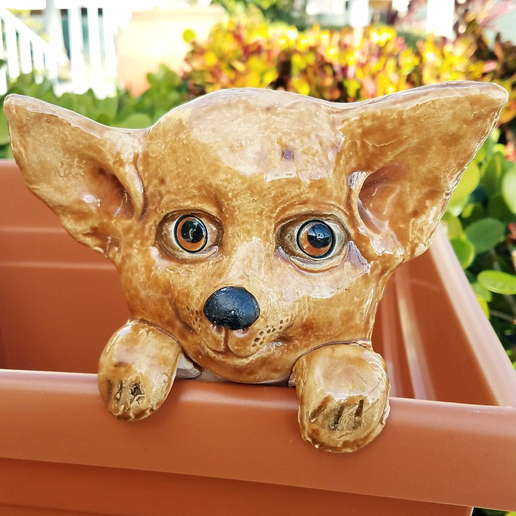 Flower Pot Friend-Brown Chihuahua