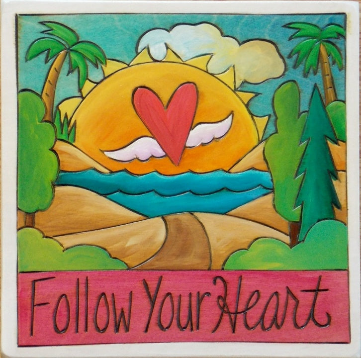 "Sticks 7""x7"" Plaque-Follow Your Heart"