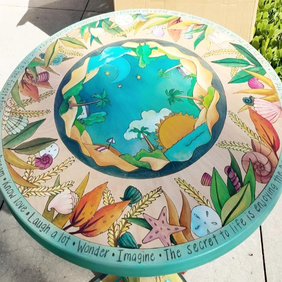 "Dining Table - 36"" Round Top-Beach Theme"