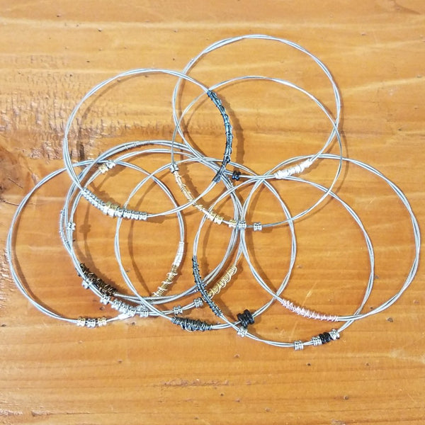 Recycled Guitar String Bracelet-Silver