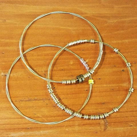 Recycled Guitar String Bracelets-Gold