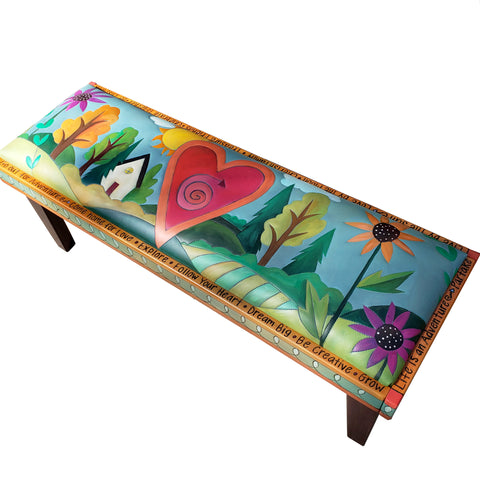 Bench 4' Leather-Heart & Home