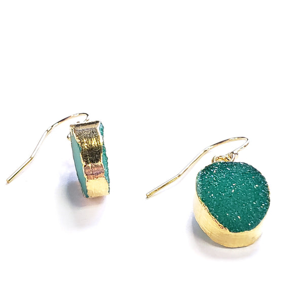 Oval Druzy Earrings-Green