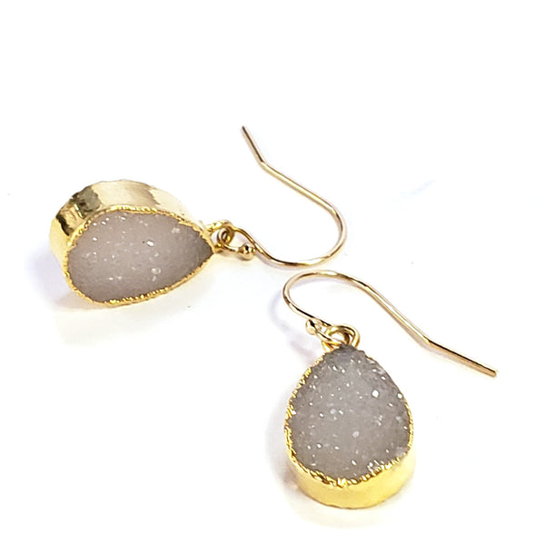 Teardrop Druzy Earrings-White