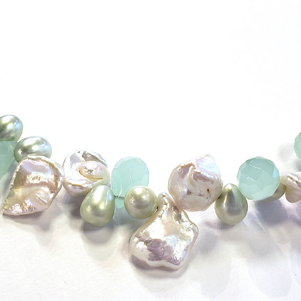 Keshi Pearl & Chalcedony Necklace
