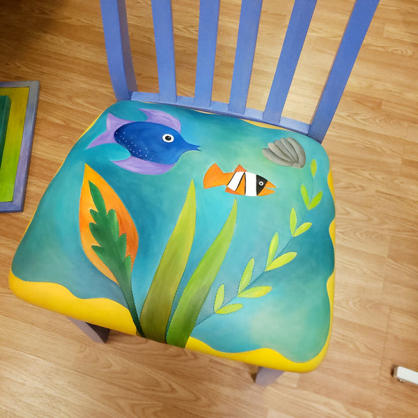 Pops Chair-Leather Seat-Fish