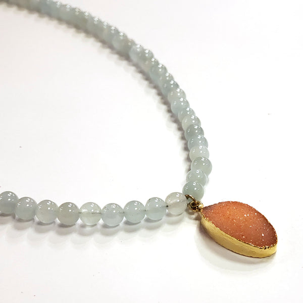Blue Jade & Peach Druzy Necklace