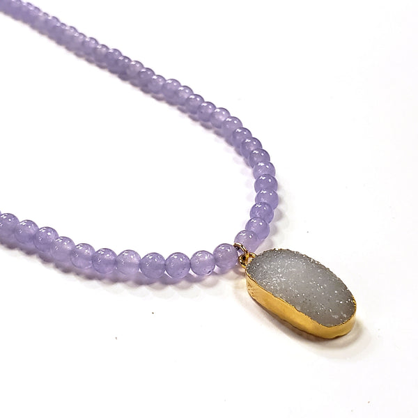Lavender Jade & Druzy Necklace