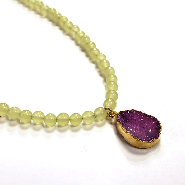 Olive Jade & Plum Druzy Necklace
