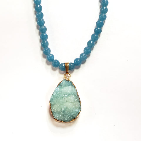 Blue Jade & Aqua Druzy Necklace