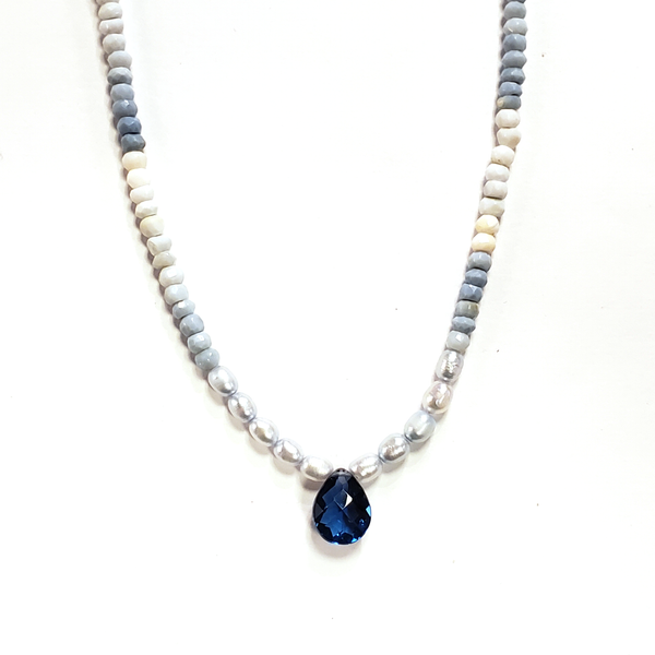 Blue Opal, Pearl & Blue Quartz Necklace