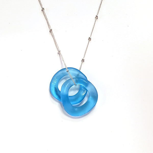 Wave Mini Necklace-Aqua
