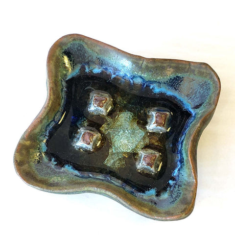 Soap Dish-Blue Green with Glass