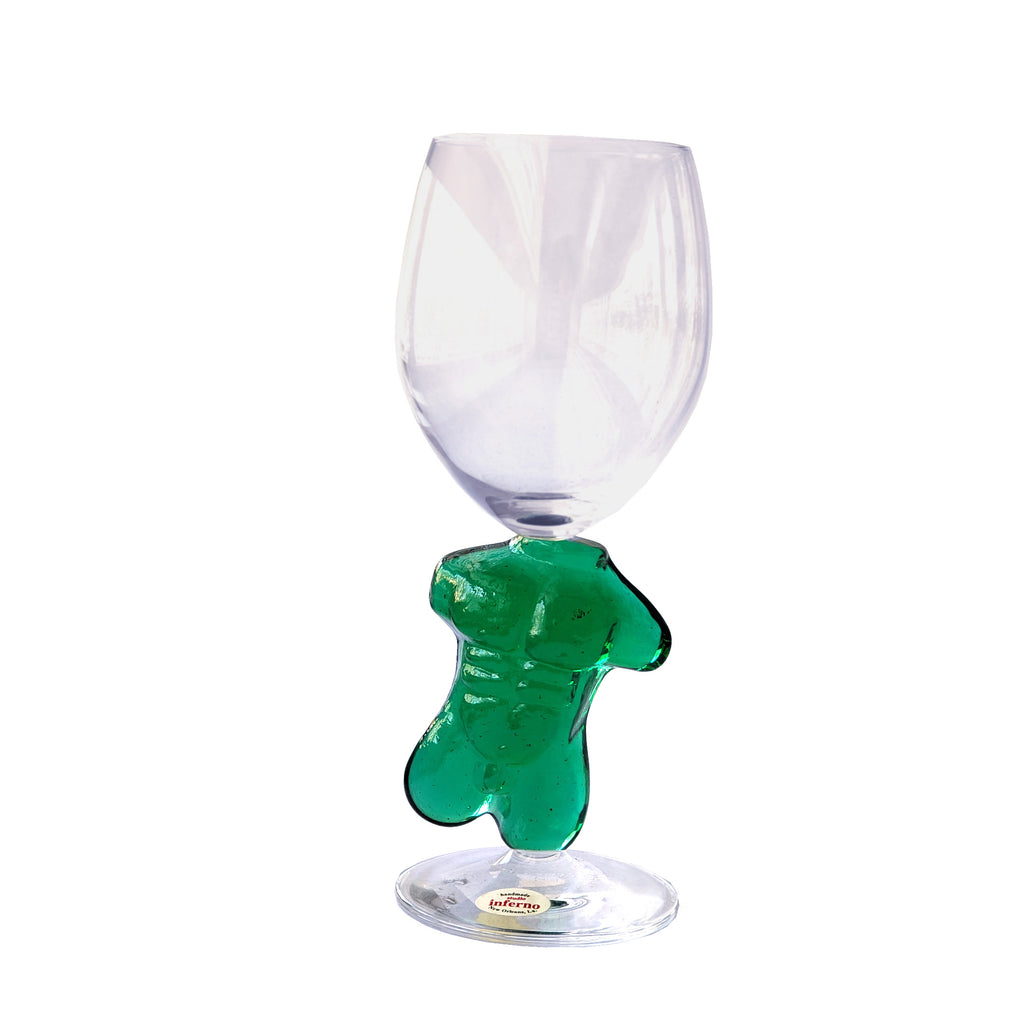 Male Torso Wine Glass-Green