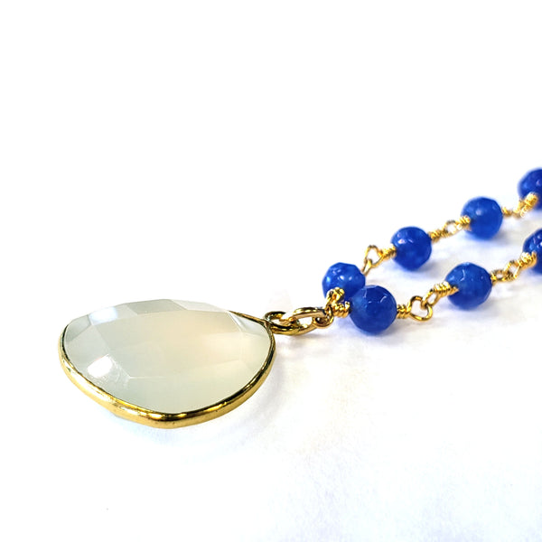 Blue & White Chalcedony Necklace