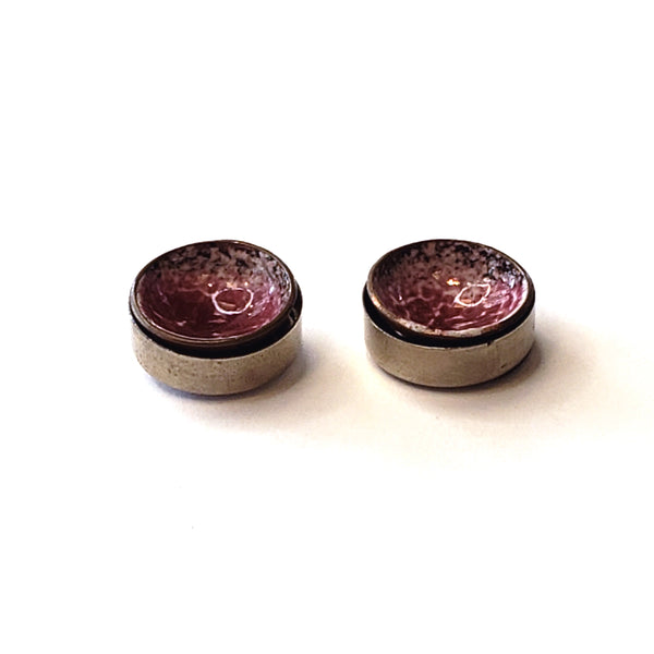 Enamel Stud Earrings-Burgundy & White
