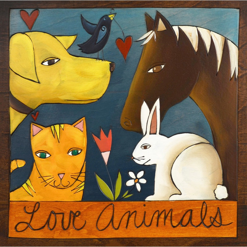 "Love Animals Plaque-9""x9"""