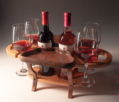 Fine Wine Caddy-2 Bottle 4 Glass-Bubinga