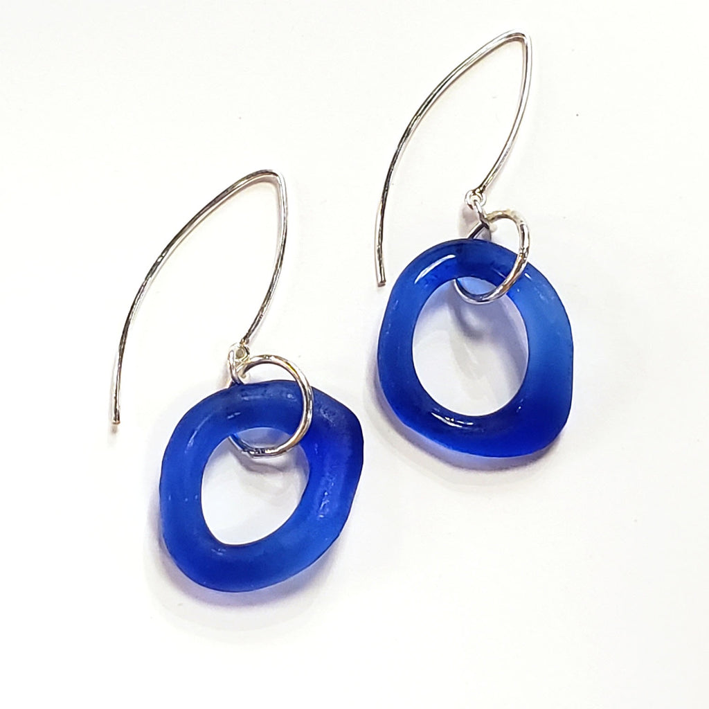 Wave Boomerang Earrings-Cobalt