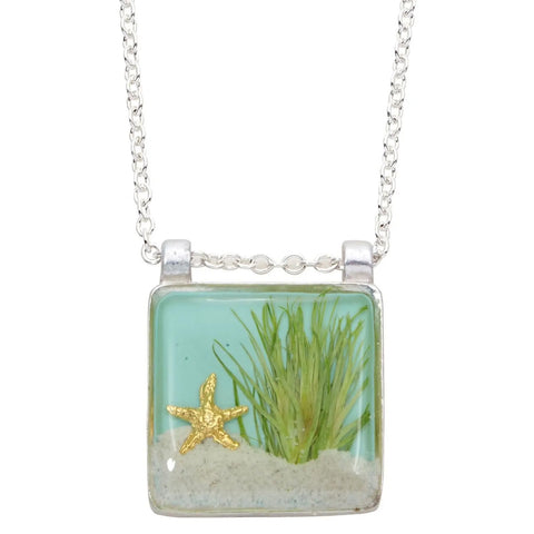 Sand Dune Necklace-Silver, Lg Square