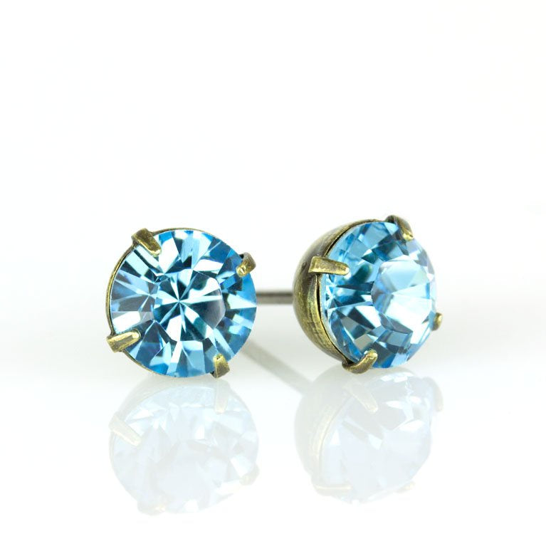 Aqua Crystal Post Earrings