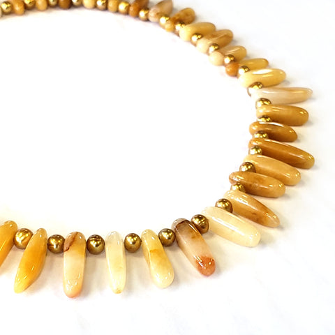 Yellow Agate & Copper Pearl Necklace