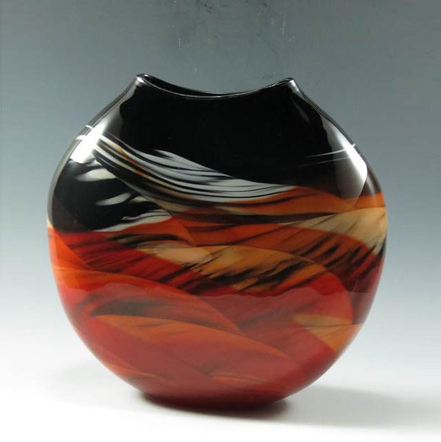 Medallion Vase-Red/White/Black