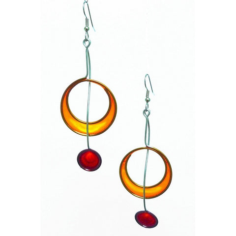 Resin Earrings-Red & Orange