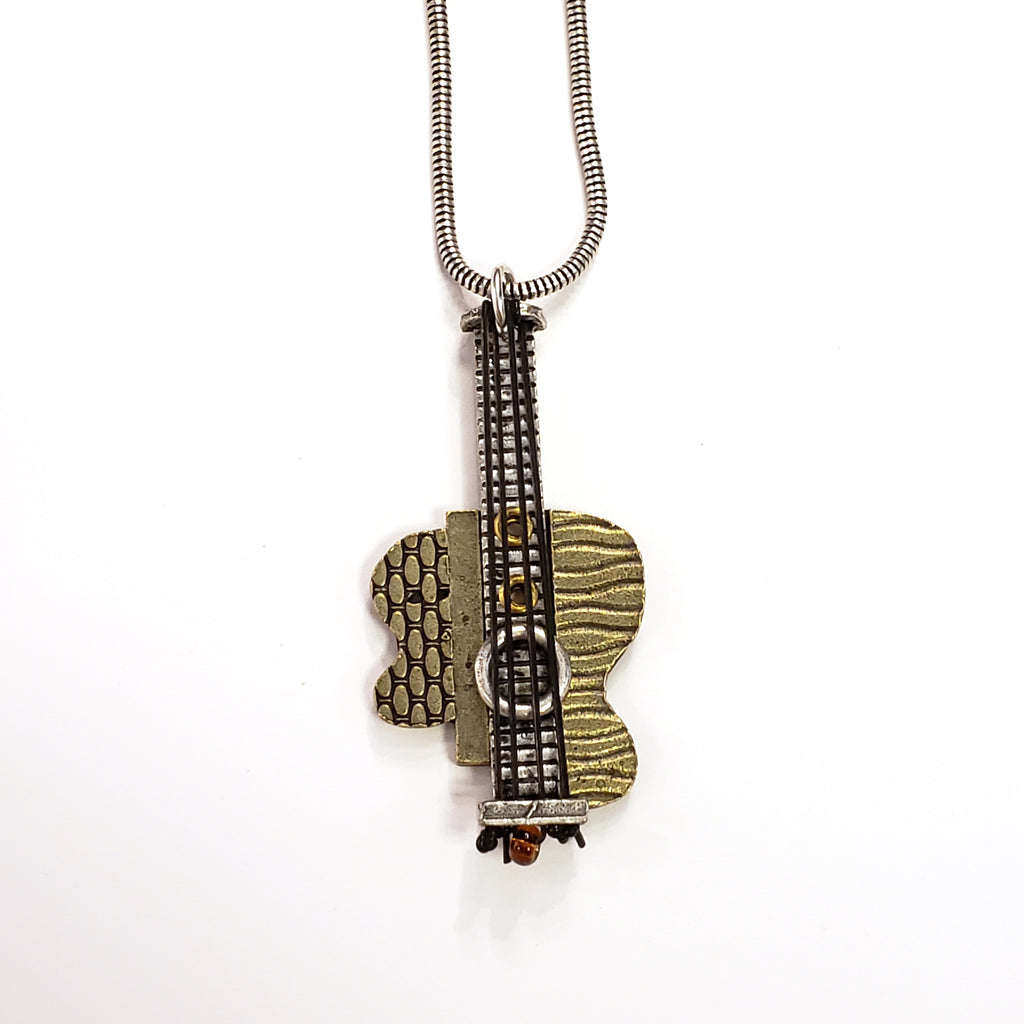 Brass Guitar Necklace