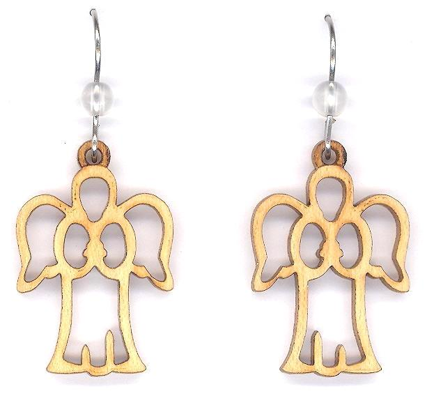 Wood Angel Earrings