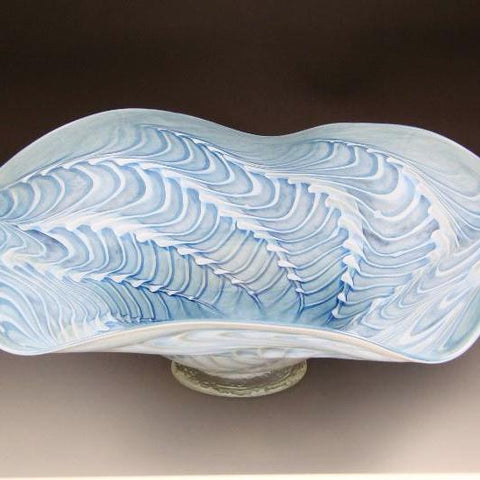 blue white blown glass bowl