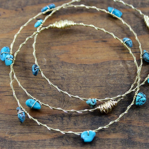Recycled Guitar String Bracelet-Turquoise