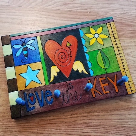 Sticks Key Hook Plaque-Love