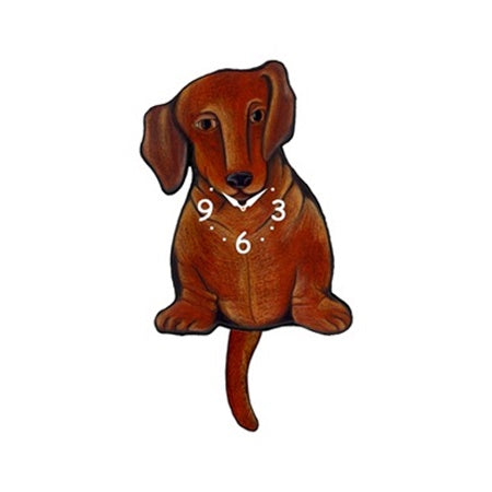 Tail Wagging Wall Clock-Dachshund Brown