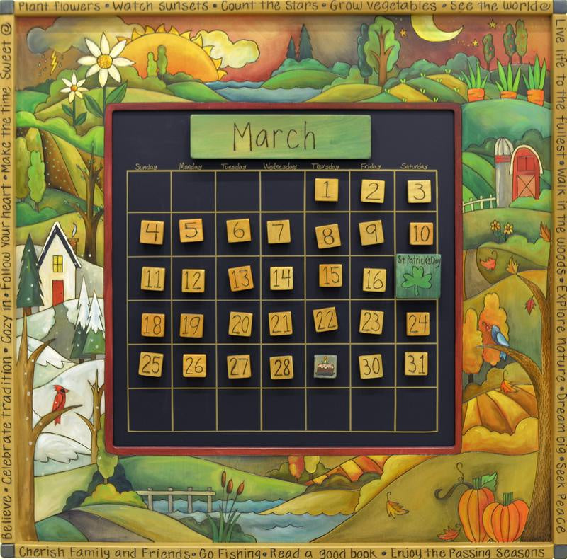 Sticks Lg. Perpetual Calendar-Four Seasons/Earthtone