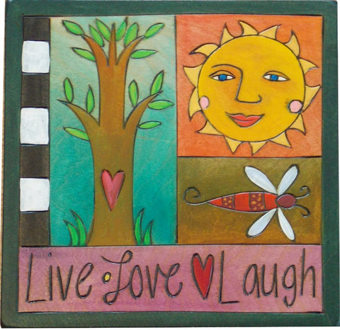 "Sticks 7""x7"" Plaque-Live Love Laugh"