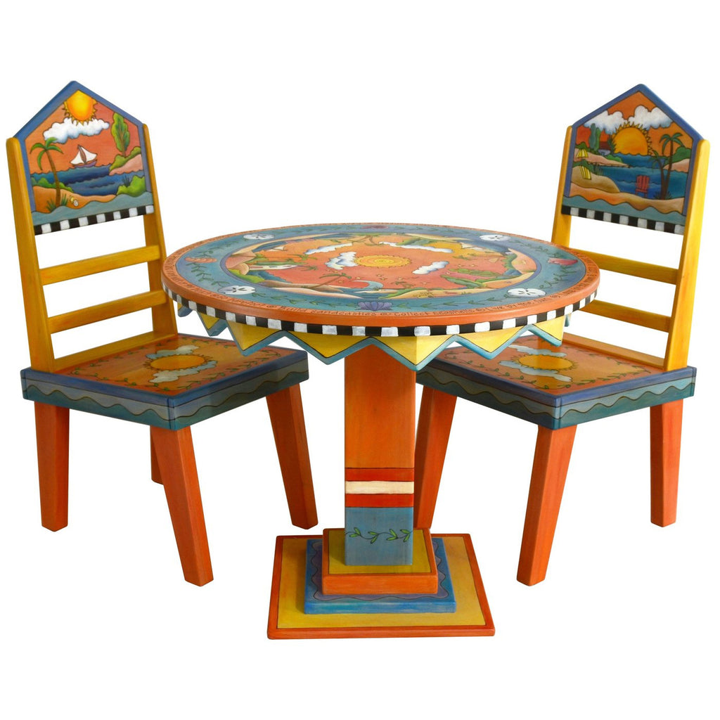 "Round Dining Table (36"") & Chairs-Tropical"