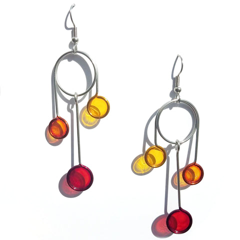 Resin Earrings-Red, Orange, Yellow