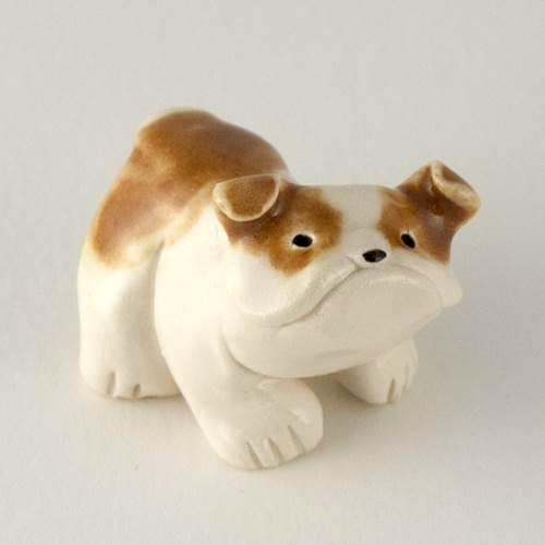 miniature ceramic bulldog sculpture