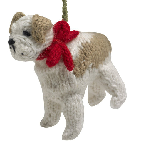 Hand Knit Dog Ornament-Bulldog