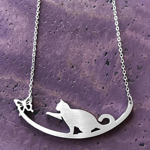 Cat with Butterfly Necklace