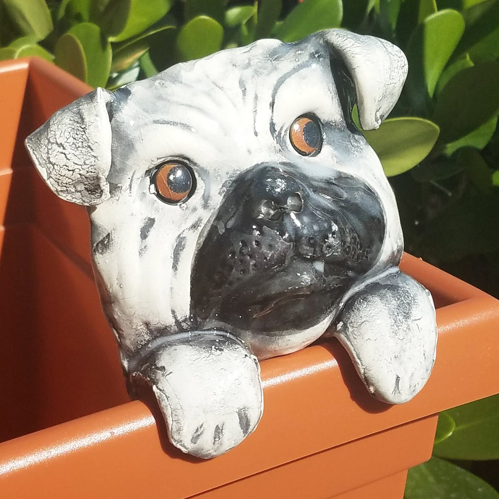 Flower Pot Friend-Grey & Black Pug