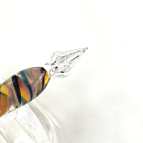Glass Pen with Rest-Yellow & Blue